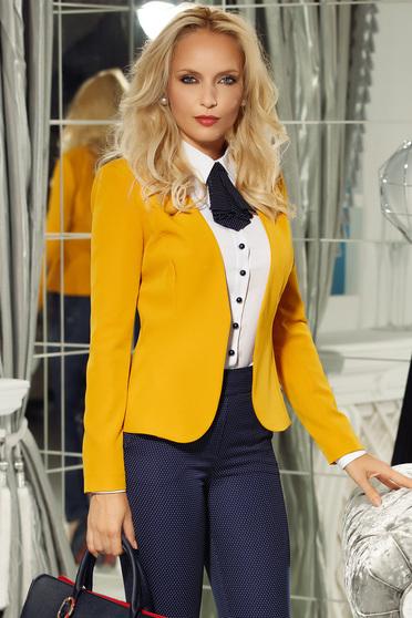 Fofy mustard office tented jacket long sleeve slightly elastic fabric