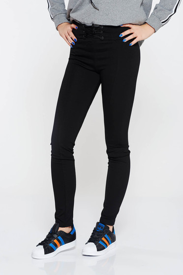 Top Secret black casual high waisted tights with tented cut slightly elastic fabric