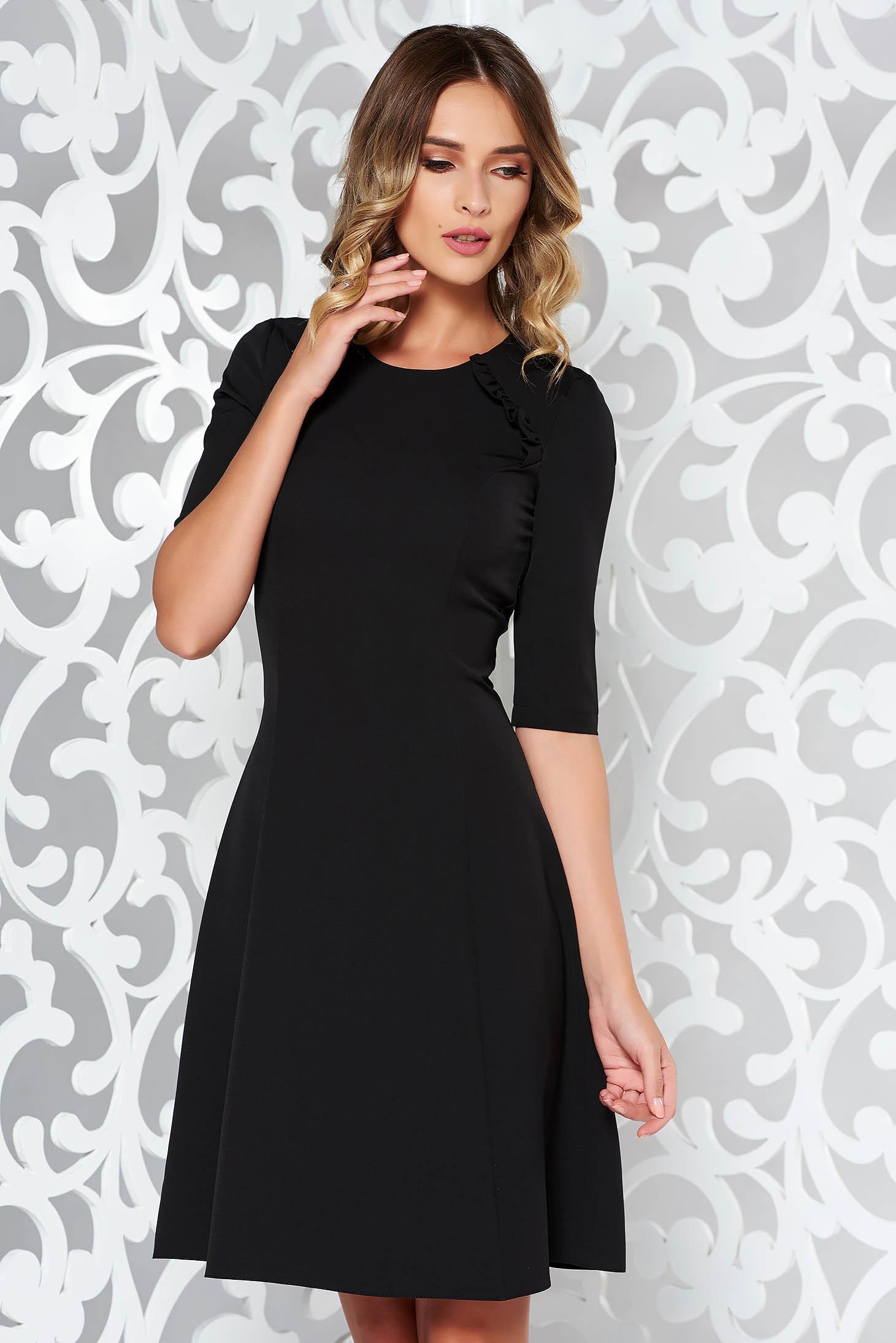 Fekete StarShinerS ruha irodai harang enyhén elasztikus szövet midi fodros
