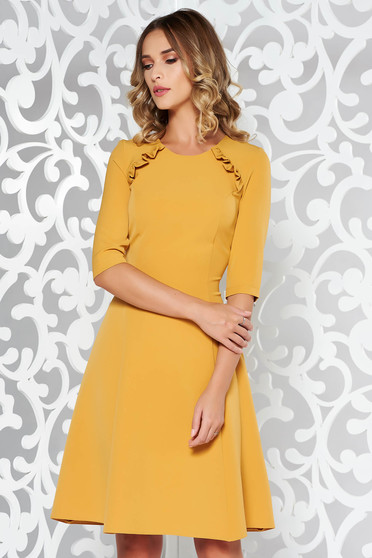 StarShinerS mustard dress office cloche slightly elastic fabric midi with ruffle details