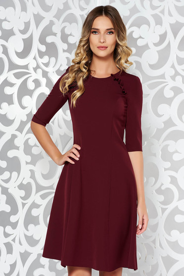 StarShinerS burgundy dress office cloche slightly elastic fabric midi with ruffle details