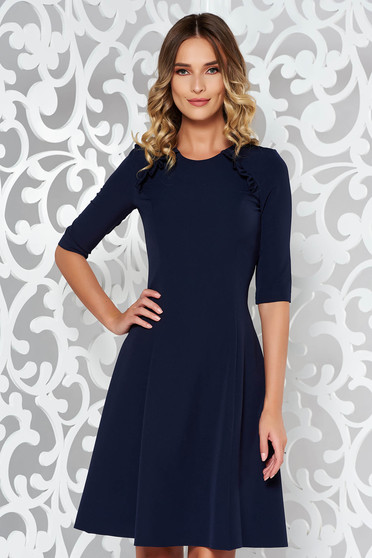 StarShinerS darkblue dress office cloche slightly elastic fabric midi with ruffle details