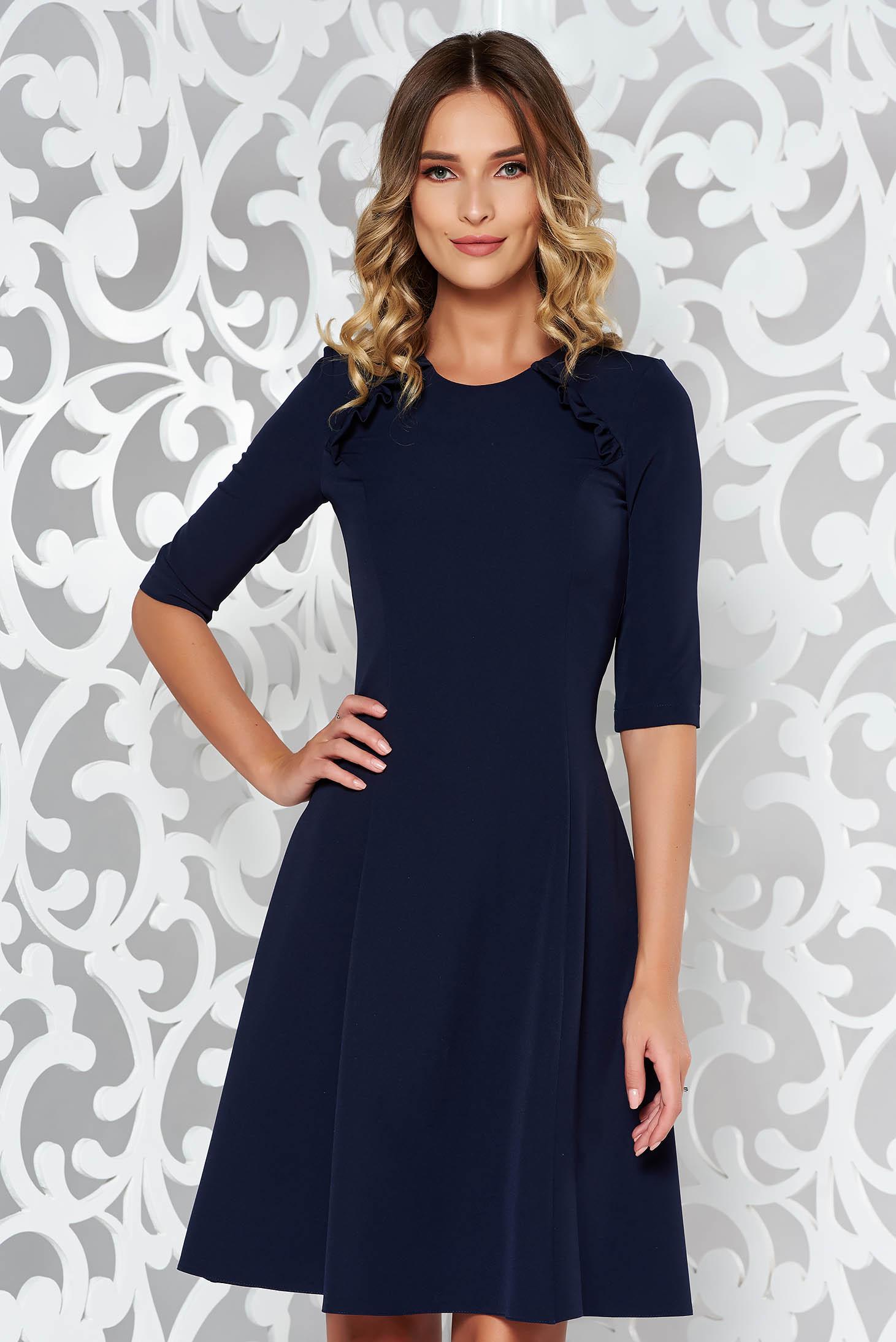 StarShinerS darkblue office midi cloche dress slightly elastic fabric with ruffle details