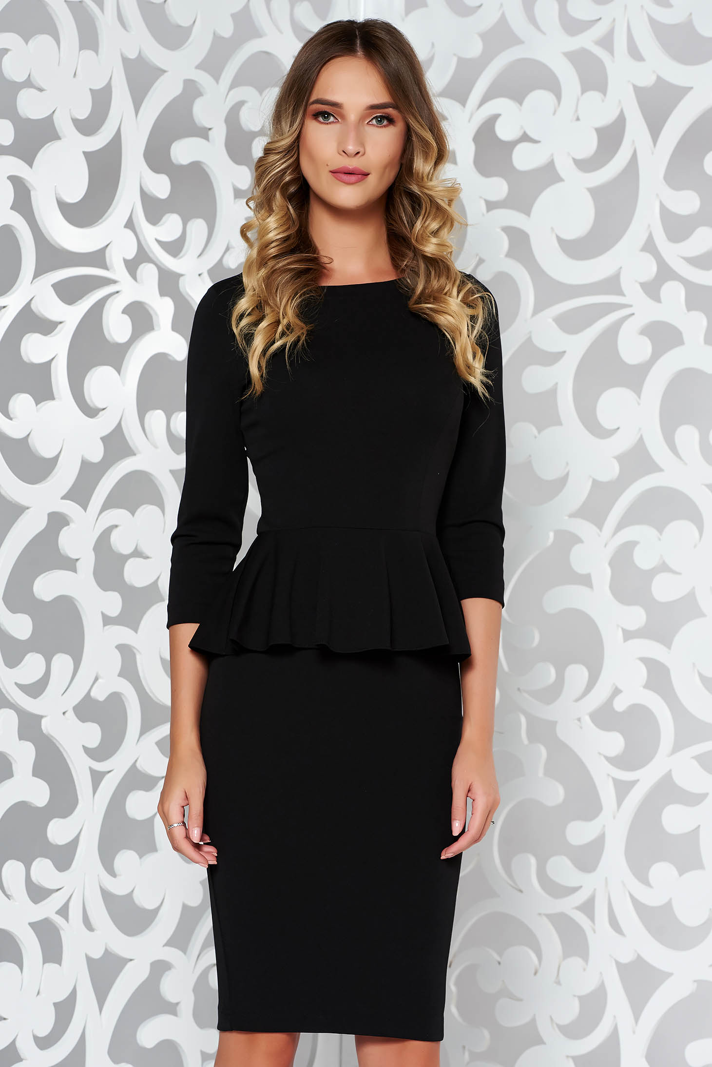 b41b14972be1 StarShinerS black office midi pencil dress from elastic fabric with frilled  ...