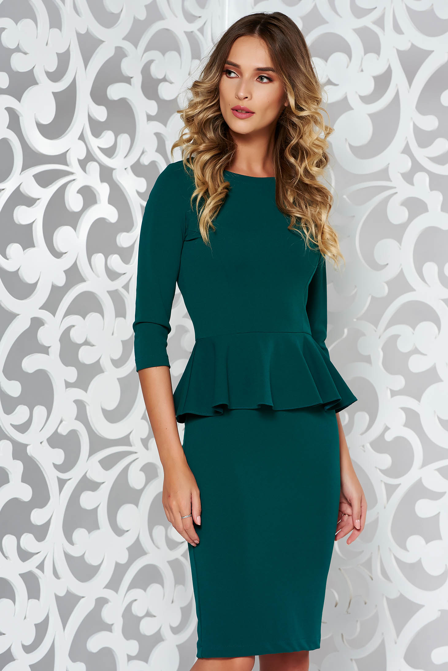 StarShinerS green office midi pencil dress from elastic fabric with frilled waist