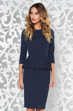 StarShinerS darkblue office midi pencil dress from elastic fabric with frilled waist