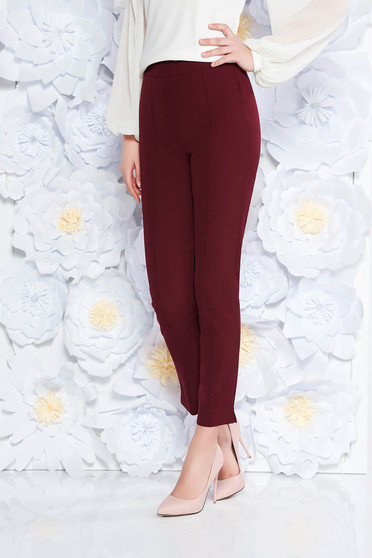 StarShinerS burgundy elegant office trousers high waisted slightly elastic fabric