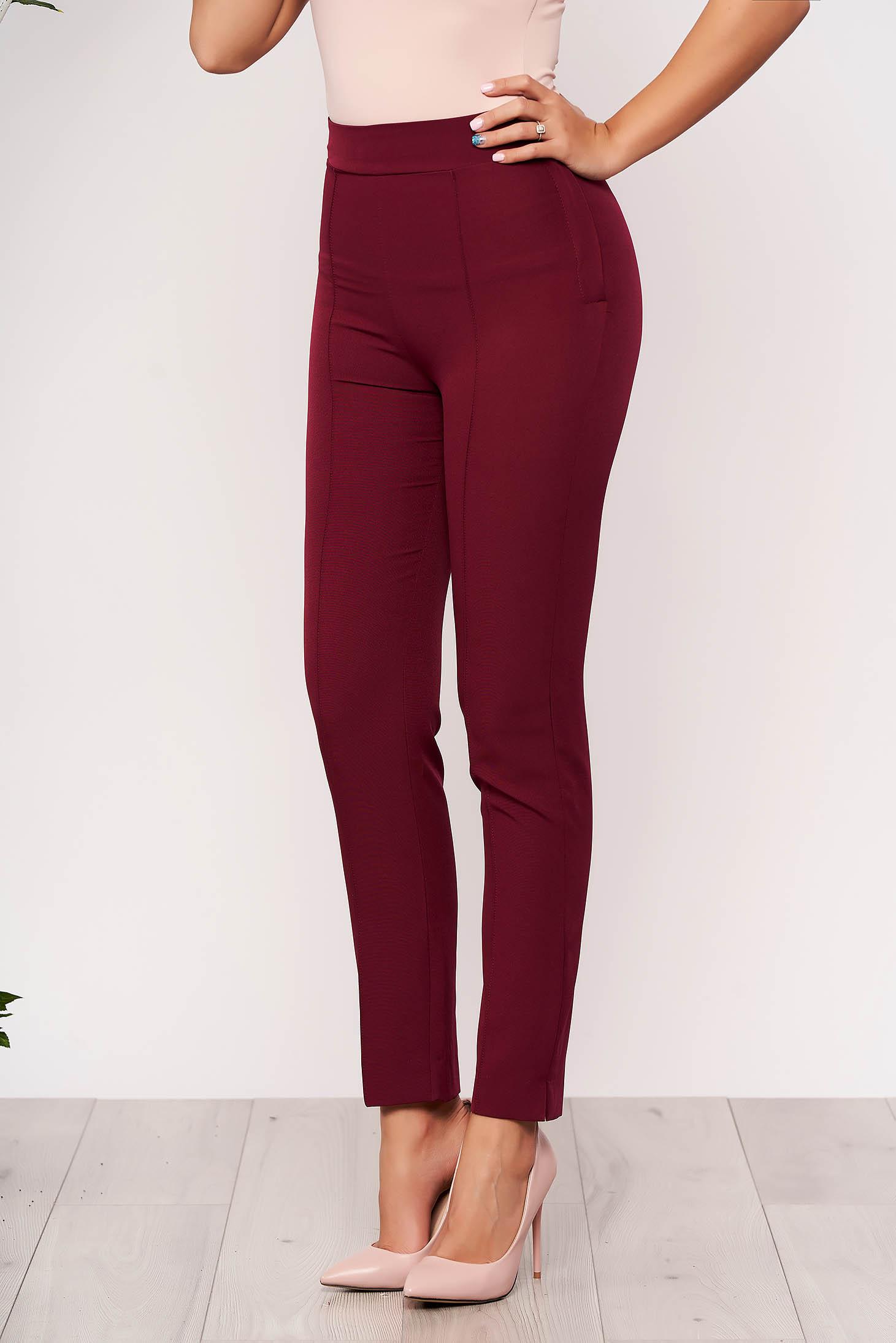 Pantaloni StarShinerS visinii office conici din material usor elastic cu talie inalta