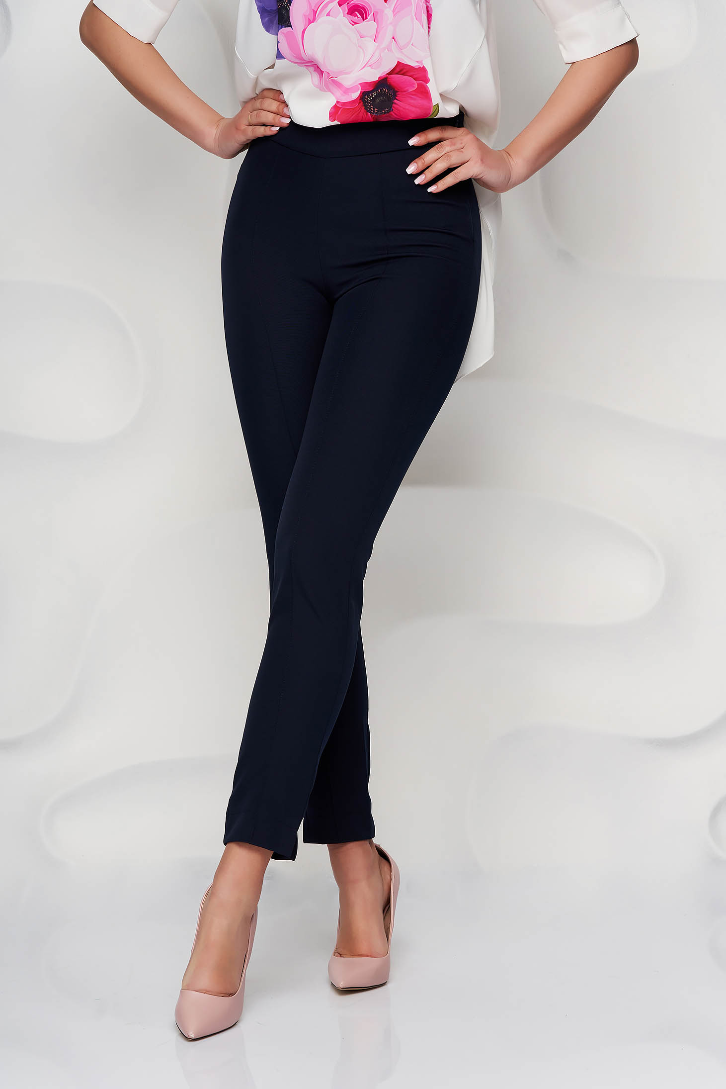StarShinerS darkblue trousers office high waisted slightly elastic fabric with pockets conical