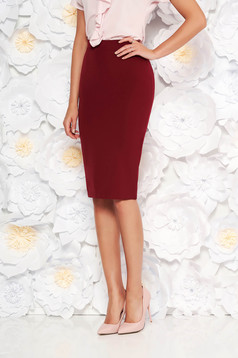 StarShinerS burgundy high waisted office pencil skirt slightly elastic fabric