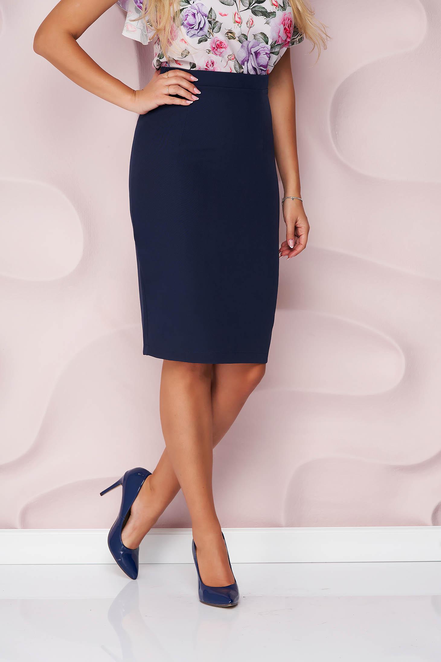 StarShinerS darkblue high waisted office pencil skirt slightly elastic fabric