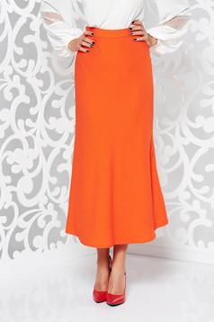 StarShinerS orange elegant flared high waisted skirt slightly elastic fabric