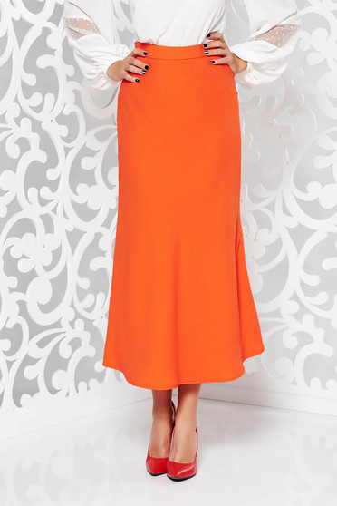 StarShinerS orange elegant flared high waisted skirt slightly elastic fabric