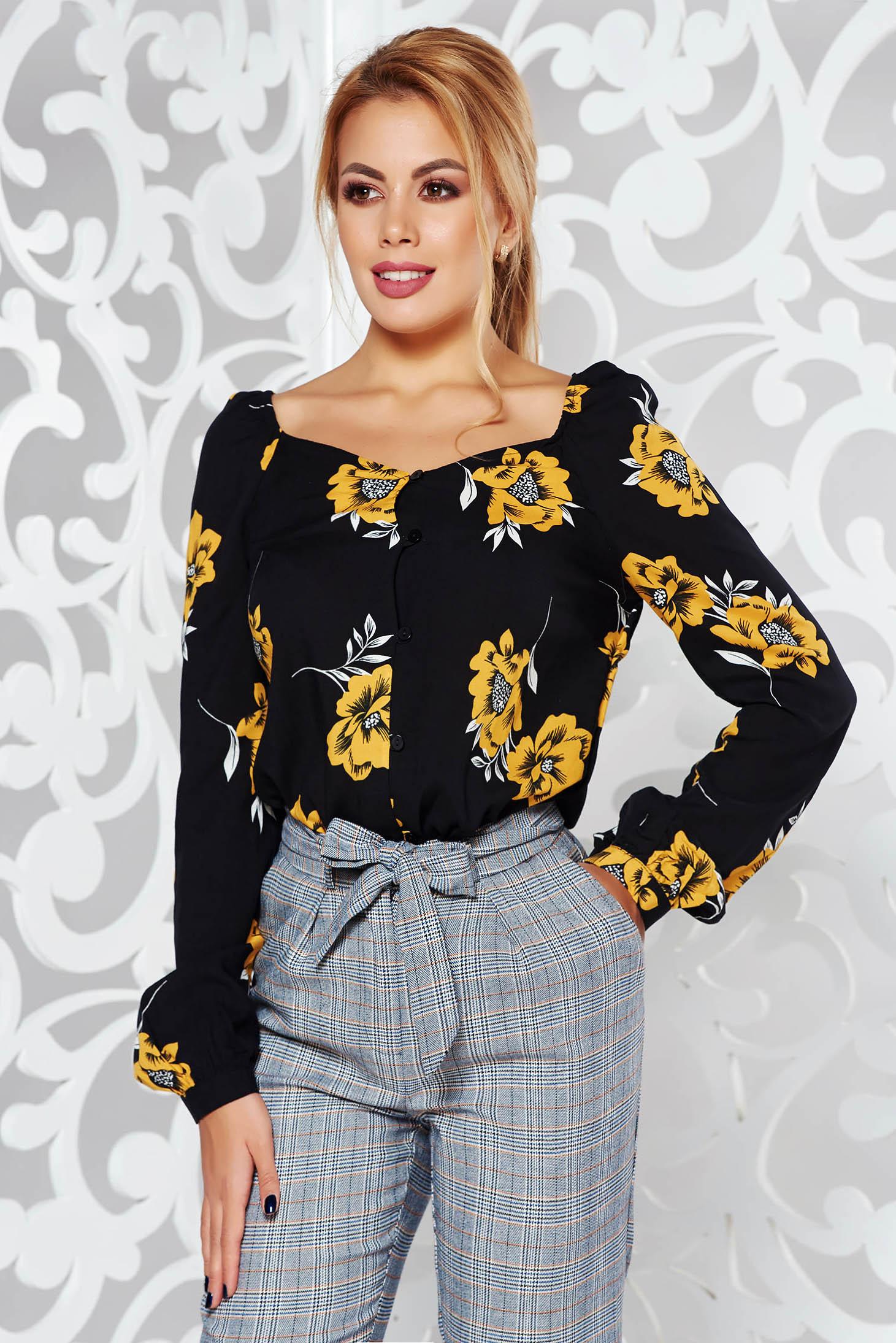 Bluza dama StarShinerS neagra casual cu croi larg cu maneci lungi din material neelastic