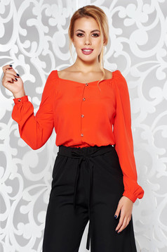 StarShinerS red casual flared long sleeved women`s blouse nonelastic fabric