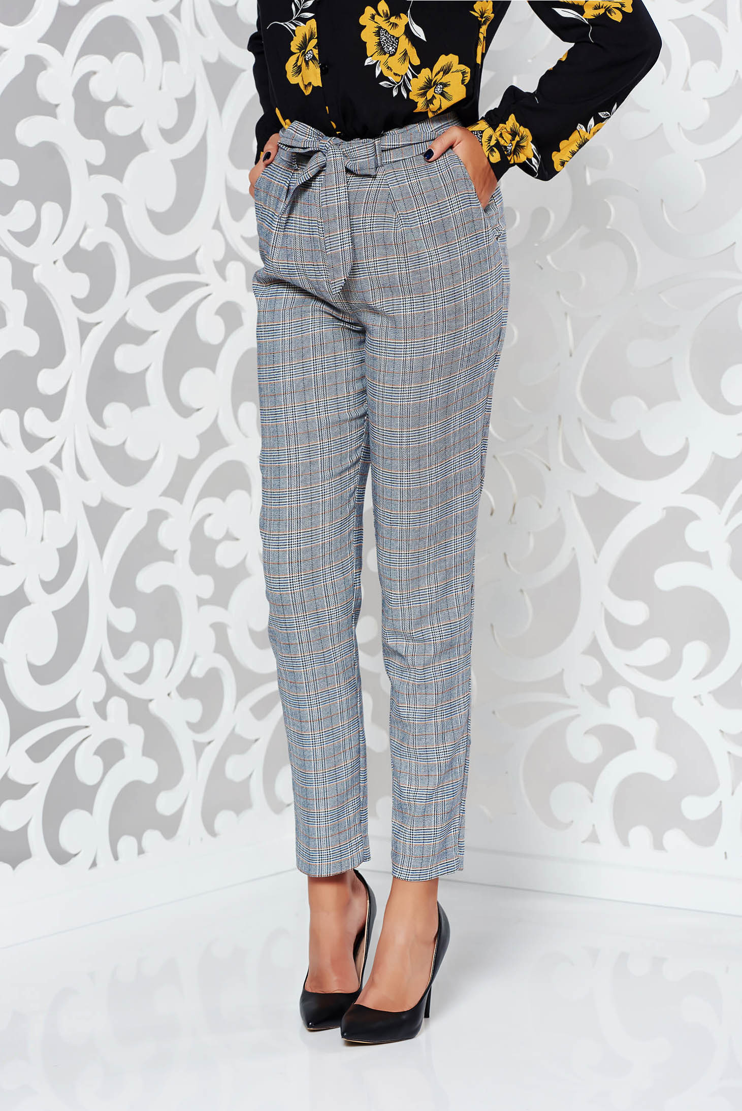 Pantaloni StarShinerS gri casual conici cu talie medie din stofa neelastica cu buzunare accesorizati cu cordon