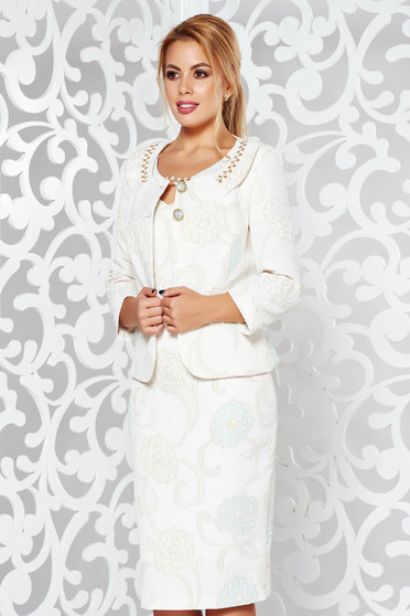 Cream elegant lady set from 2 pieces nonelastic fabric with raised flowers