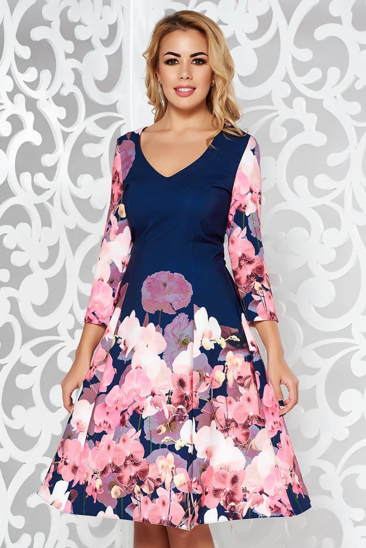 Sötétkék StarShinerS ruha elegáns midi harang finom tapintású anyag v-dekoltázzsal