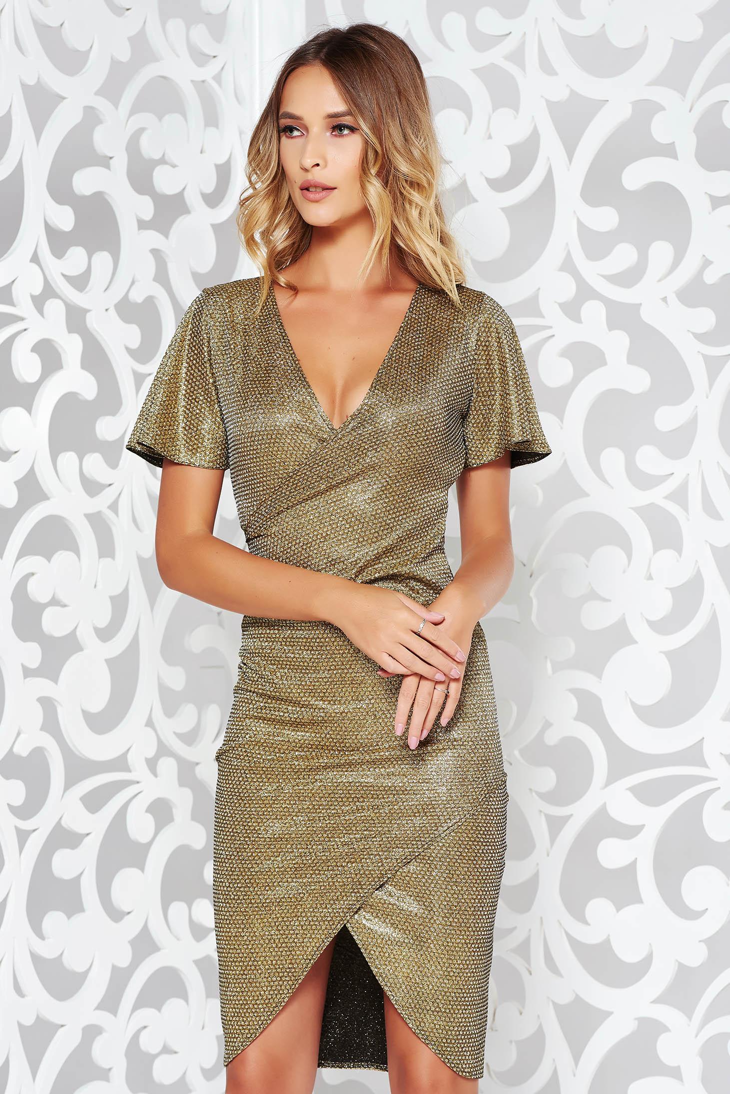 Arany StarShinerS alkalmi ruha szűk szabás enyhén rugalmas anyag csillogó  díszítések 1187d05838