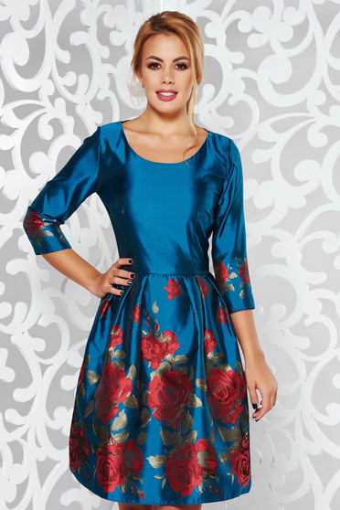 PrettyGirl turquoise occasional cloche dress from shiny fabric with floral prints