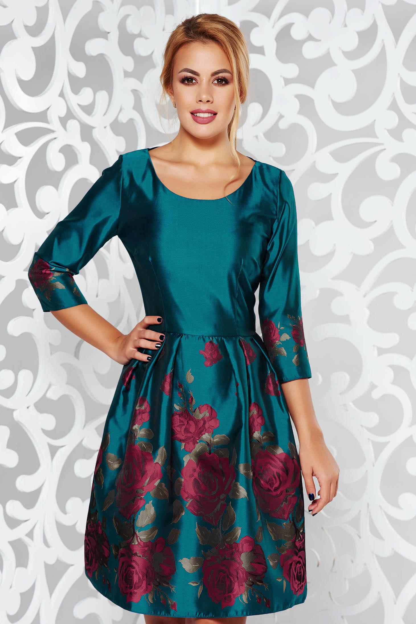 e947b7e6b6 Türkiz PrettyGirl alkalmi harang ruha fényes anyag virágmintás díszítéssel