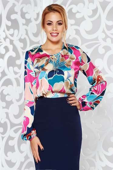 PrettyGirl cream elegant flared women`s blouse long sleeve from satin fabric texture with floral print