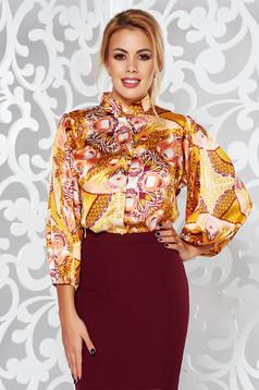 PrettyGirl yellow elegant flared women`s shirt 3/4 sleeve from satin fabric texture