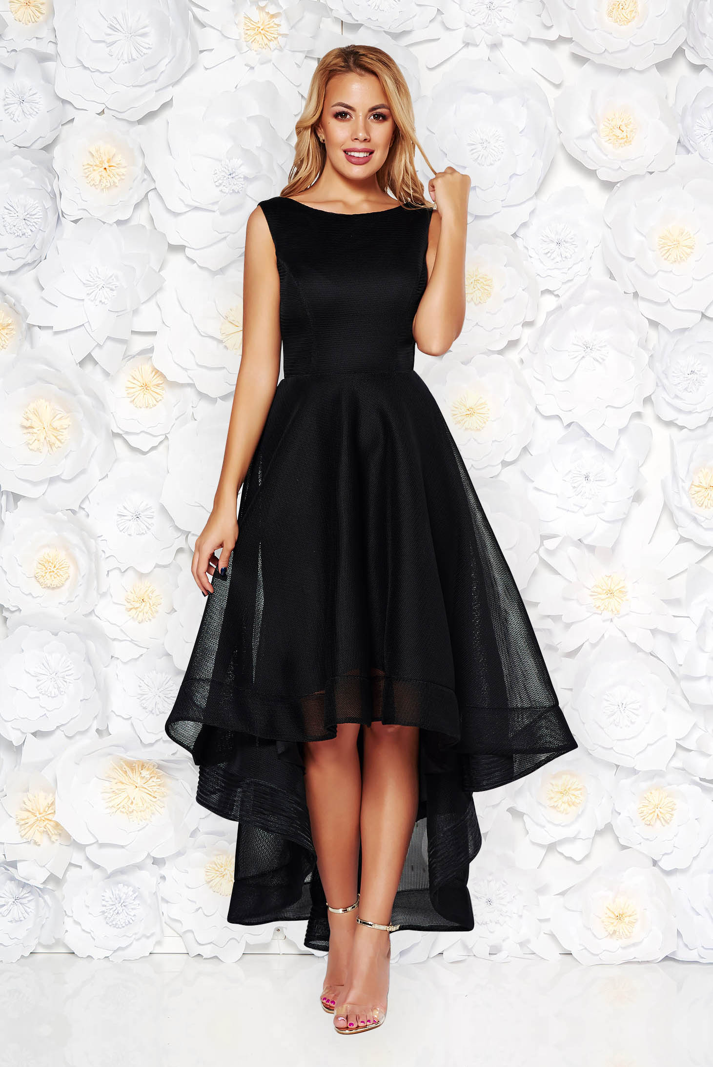 Black occasional cloche dress asymmetrical