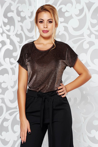 Gold occasional short sleeve women`s blouse flared slightly transparent fabric