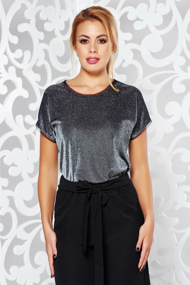 Silver occasional short sleeve women`s blouse flared slightly transparent fabric