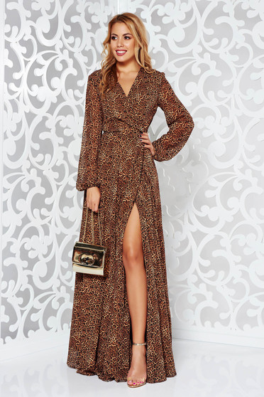 Brown occasional cloche dress voile fabric with animal print with a cleavage