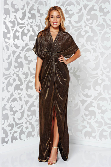 Gold occasional flared dress with deep cleavage shimmery metallic fabric