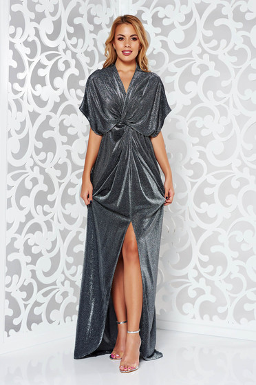 Silver occasional flared dress with deep cleavage shimmery metallic fabric