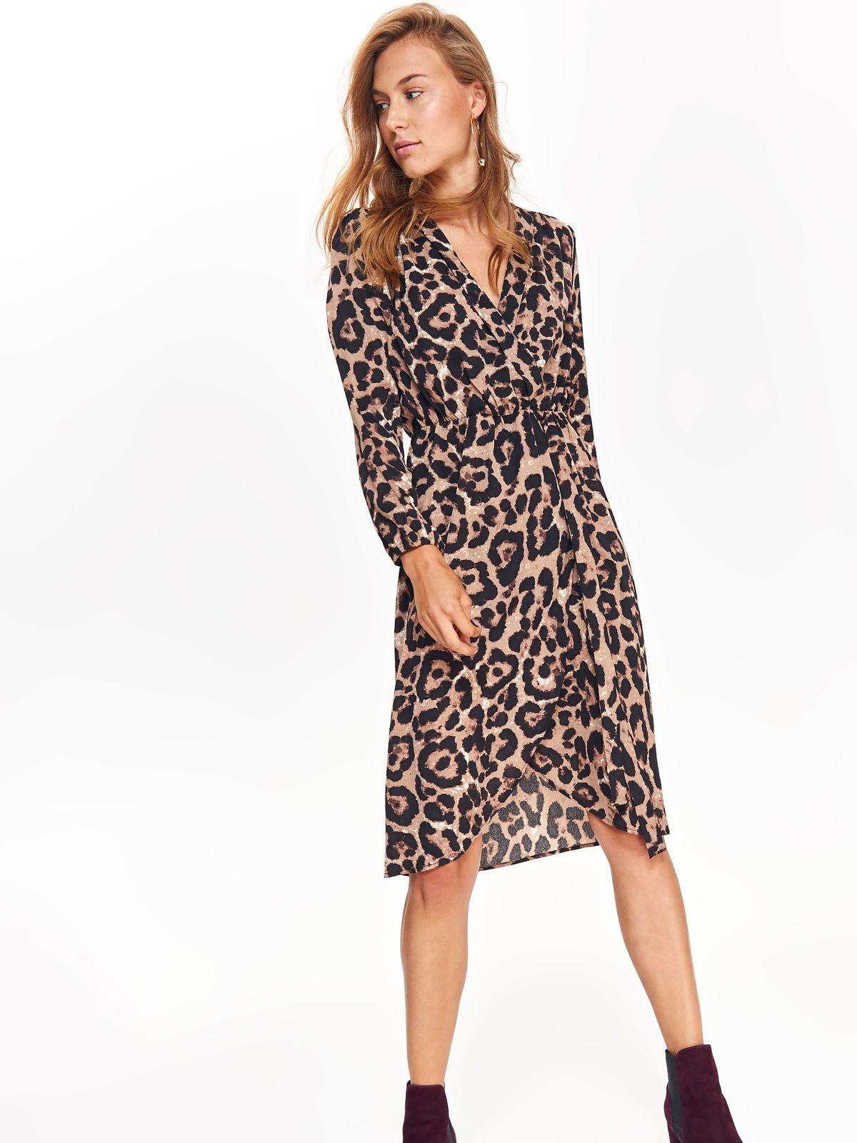 Top Secret peach casual asymmetrical dress with v-neckline long sleeved