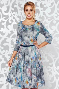 Darkgrey daily midi cloche dress from soft fabric with floral print accessorized with belt