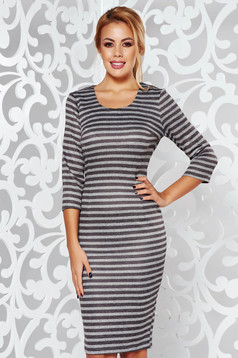 Brown daily pencil dress 3/4 sleeve from soft fabric