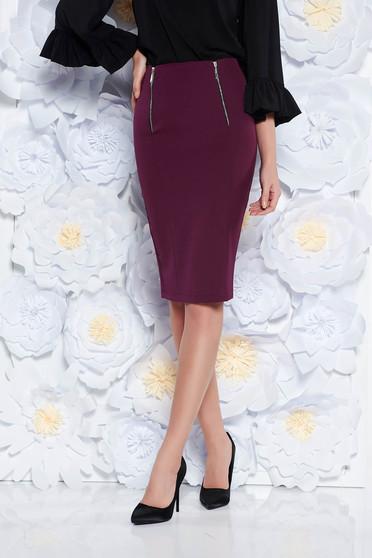 StarShinerS purple skirt office pencil slightly elastic fabric with medium waist
