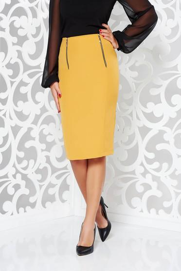 StarShinerS mustard skirt office pencil slightly elastic fabric with medium waist