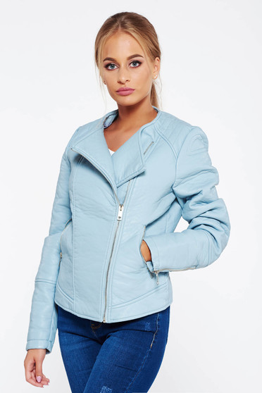 Lightblue casual jacket long sleeve from ecological leather with straight cut
