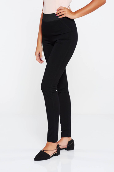 Black casual high waisted tights cotton