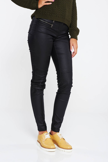 Black casual trousers with medium waist slightly elastic cotton