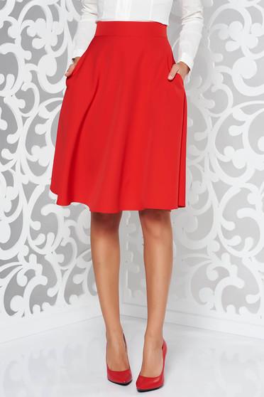 StarShinerS red elegant cloche skirt high waisted slightly elastic fabric