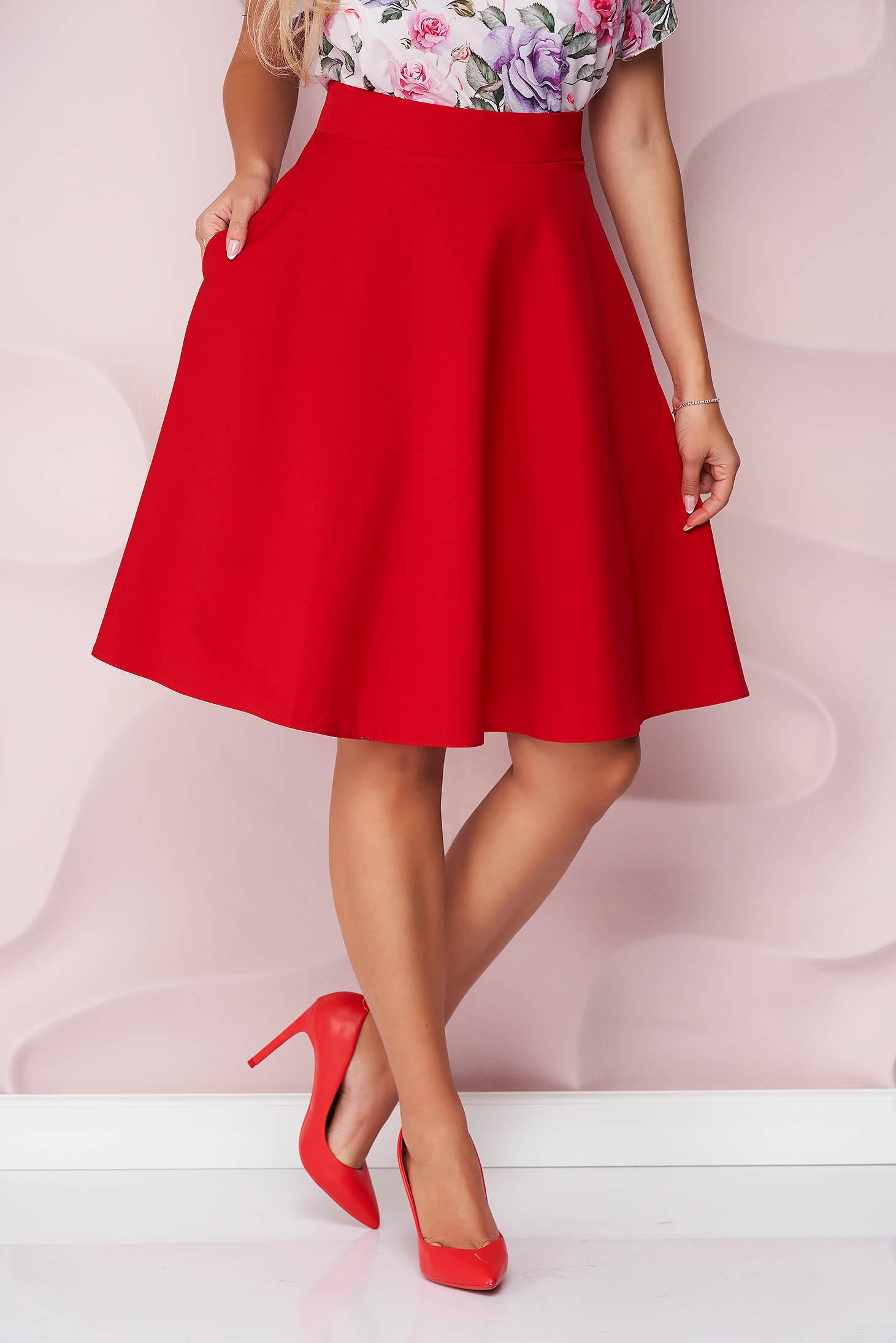 Fusta StarShinerS rosie office midi in clos din stofa usor elastica cu talie inalta si buzunare