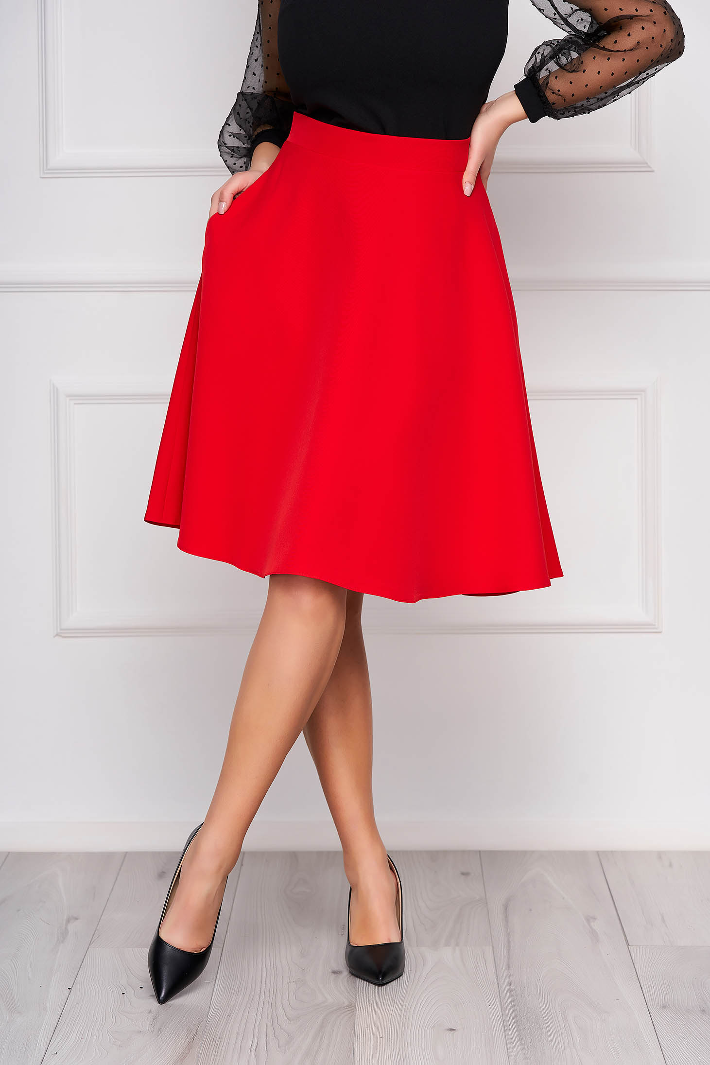 StarShinerS red elegant cloche skirt high waisted slightly elastic fabric