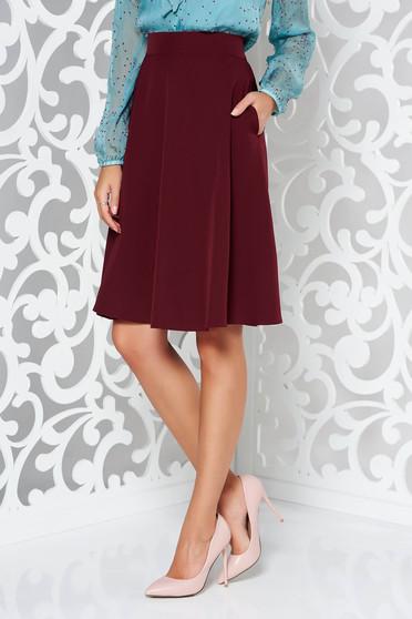 StarShinerS burgundy elegant cloche skirt high waisted slightly elastic fabric
