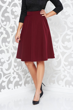 StarShinerS burgundy elegant cloche skirt high waisted slightly elastic fabric