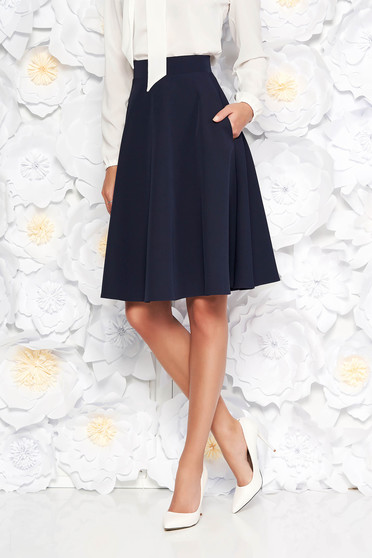 StarShinerS darkblue elegant cloche skirt high waisted slightly elastic fabric