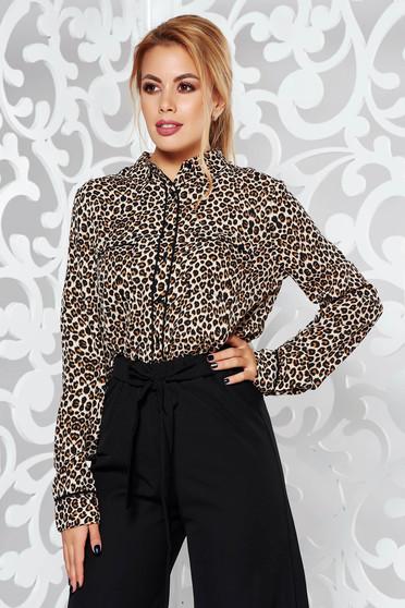 Brown elegant flared women`s shirt animal print