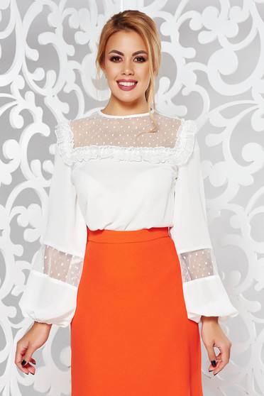 LaDonna white elegant from veil fabric flared women`s blouse