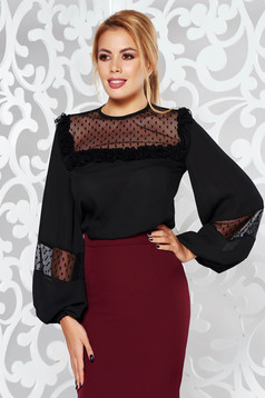 LaDonna black elegant from veil fabric flared women`s blouse